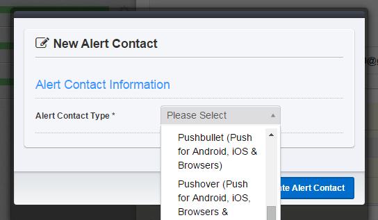 new alert contact
